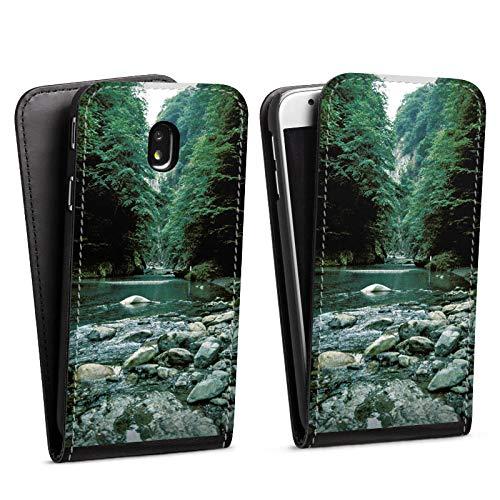 DeinDesign Flip Case kompatibel mit Samsung Galaxy J3 Duos 2017 Tasche Hülle Fluss Forest Wald