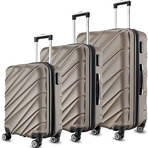 SHAIK 3-tlg. DESIGN Hartschalen Kofferset, Trolley, Koffer, Reisekoffer, 40/78/124 Liter, 4 Doppelrollen, 25% mehr Volumen durch Dehnfalte (Anthrazit)
