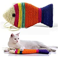 Pet Believe Sisal Rope Cat Scratch Board Scratching Pad Play Funny Toy Fish Shape (Random Color)