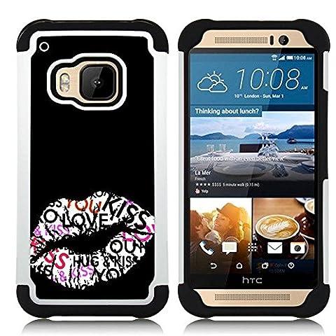 HTC One M9 /M9s / One Hima - 3 en 1 impreso colorido de Altas Prestaciones PC Funda chaqueta Negro cubierta gel silicona suave (Beso Labios Hug miel Sexy Negro