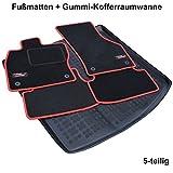 AME Set - Auto-Fußmatten Velours mit roter Kettelung, Sport Logo und eingearbeiteten Trittschutz inkl. runde Befestigungen + Auto-Gummiwanne; Schutzmatte für den Laderaum 4224BKL+231427KW