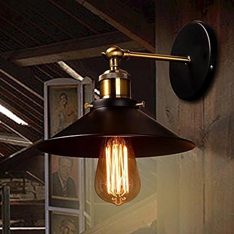 Vintage Industrial Lampada da parete a parete di ferro applique Posto Letto regolabile luce da parete LAMPADA DI ANTIQUARIATO E27 ,nero