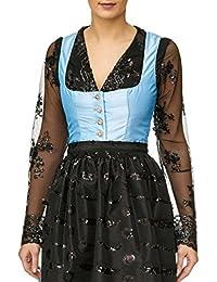 64db79dae7df Lia Fashion Body Bluse, Dirndlbluse, Dirndlbody, Kann auch ohne Dirndl  getragen werden, schwarz, Spitze, Gr. 38 40, Glitzer lange Ärmel,…