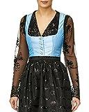 Lia Fashion Body/Bluse, Dirndlbluse, Dirndlbody, Kann auch ohne Dirndl getragen werden, schwarz, Spitze, Gr. 38/40, Glitzer lange Ärmel, super modern Bluse extravagant Tracht Trachtenbody schwarz