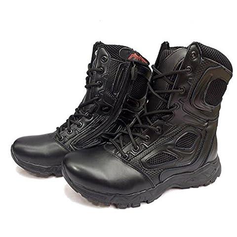 Chaussures militaires supérieures en cuir supérieur chaussures de randonnée tactiques extérieures résistantes durables antidérapantes et imperméables à l'eau , Black ,