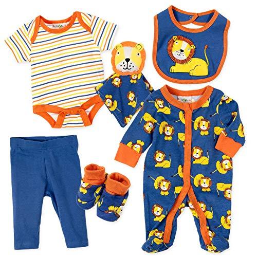 Lily & Jack Baby Set Strampler Body Hose Latz Handschuhe Jungen bunt | Motiv: Löwe | Erstausstattung mit 6 Teilen für Neugeborene & Kleinkinder | Größe: 3-6 Monate (68) (Kleinkind Schnuffeltuch-set Blau)