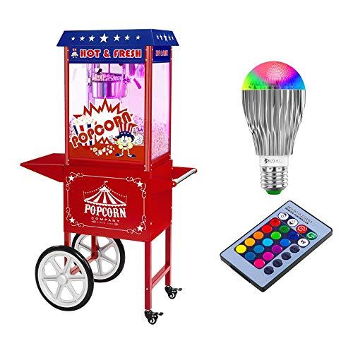 Royal Catering Popcornmaschine Popcorn Maker Popcornautomat RCPW-16.1 Popcorn Machine LED Set (1.600 W, 6 kg/h, 16 L/h, Teflon-Beschichtung, mit Wagen und LED-Beleuchtung) USA Design