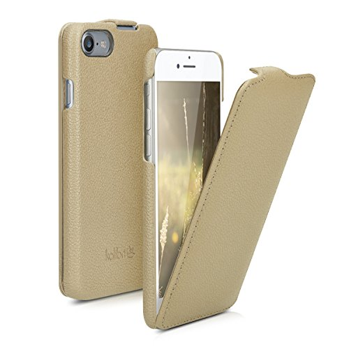 kalibri-Flip-Hlle-Ultra-Slim-Tasche-fr-Apple-iPhone-7-Leder-Schutzhlle-Case-in-Beige