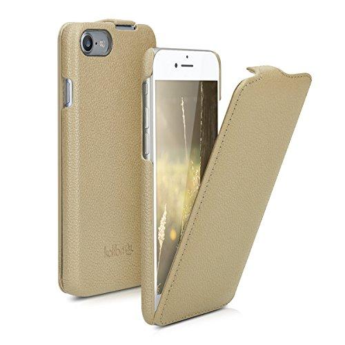 kalibri-Flip-Hlle-Ultra-Slim-Tasche-fr-Apple-iPhone-7-Leder-Schutzhlle-Case-in-Beige