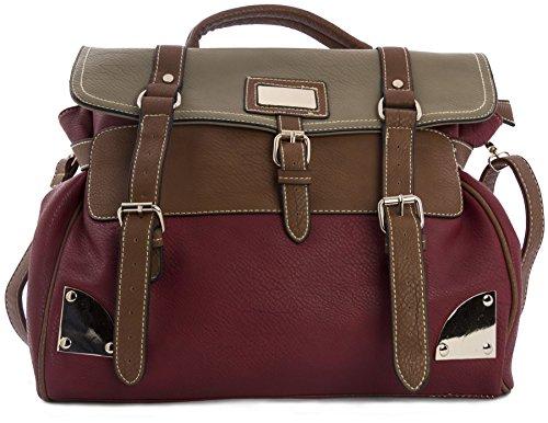 Big Handbag Shop - Borsa a tracolla donna (Red & Taupe)