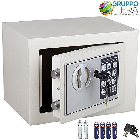 Bakaji Wandtresor Numerische Digital 23x 17x 17cm-Sicherheit elektronische Haus Hotel Hotel Safe + 4x AA Batterien und Schlüssel von Notfall Farbe Beige