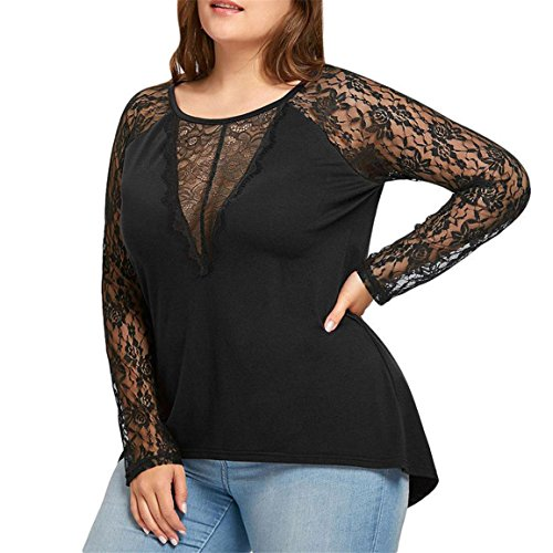 Moonuy Frauen Langarm-Pullover, Solid Plus Size Lace beiläufige Bluse Persönlichkeit O-Ansatz lose Tops Lace Casual T-Shirt Solide Mode Elegant Slim Bluse für Damen (Schwarz, EU 40/Asien XL) (Solid Damen Slim Blusen)