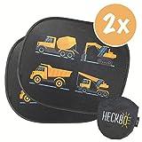 HECKBO® Selbsthaftende Auto Sonnenblende - Sonnenschutz für Kinder [2 Stück]   für Seitenfenster & Heckscheibe   Motiv: Baufahrzeuge   inkl. gratis Tasche