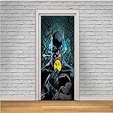 JHSM Autocollant Porte Sticker Poster 3D Gwell pour Décoration Mur Salon Cuisine Autocollant Mural Décalcomanie DC Batman Super Hero DC Comics 3D