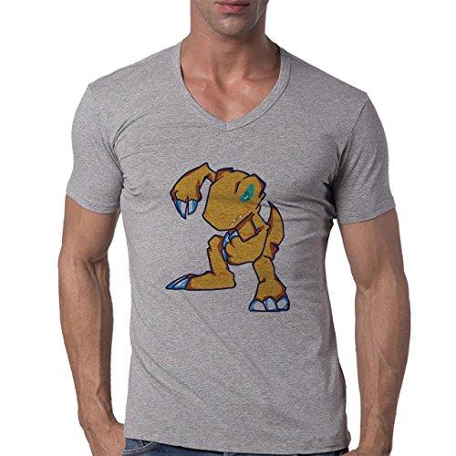Digimon Agumon Greymon Wargreymon Wargreymon Fists Herren V-Neck T-Shirt Grau
