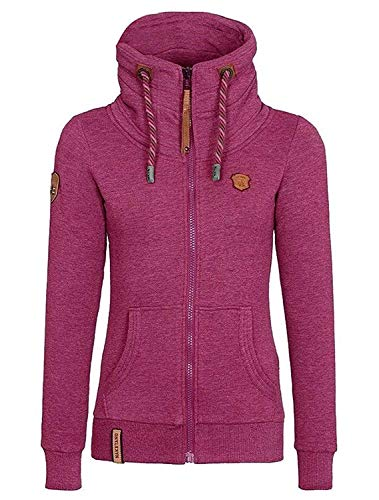 ShallGood Femmes Automne Hiver Sweats à Capuche Veste Mode Casual Manche Longue Outerwear Oblique Zipper Manteau Hoodies Zip Pulls Rouge EU XL