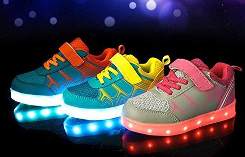 (Présents:petite serviette)JUNGLEST Unisexe Enfant Filles Garçons Couleur USB Charge LED Lumière Lumineux Clignotants Chaussures Rose