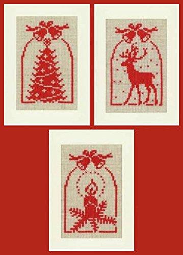 Vervaco REH, Kerze, Christbaum, 3er Set Grußkarten zum Sticken in Kreuzstich, Baumwolle, Mehrfarbig 10.5 x 15 x 0.3 cm, 3-Einheiten