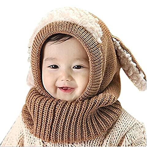 Baby Hat, Rcool Winter Baby Kids Girls Boys Warm Knitted Coif Hood Scarf Caps Hats (Khaki)