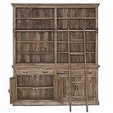 Bücherwand 10 Fächer, 2 Schübe, 4 Türen Mango braun 200x230x40cm - Modell Aladin