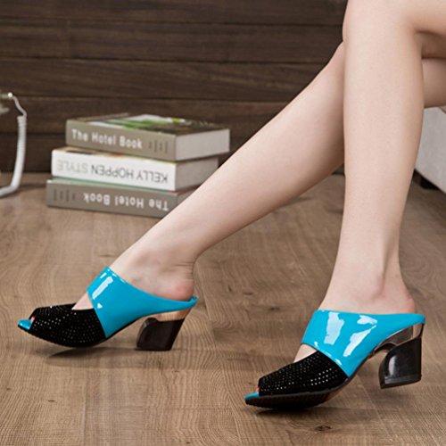 Frauen Sandalen Strass Thick Mid Heel Open Toe Farbe Block Dekoration Sandalen Blue