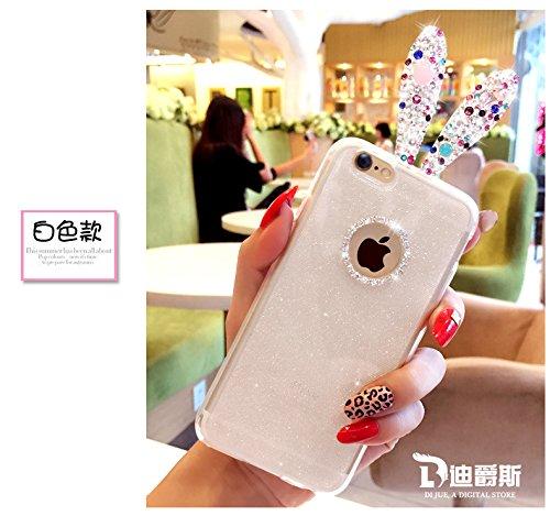 Coque iPhone 6 Plus/6s Plus , iNenk® Nouveau Mous TPU Silicone téléphone Paillettes luxe diamant strass lapin oreille Protection mode brillant marée affaire couverture-rose Blanc