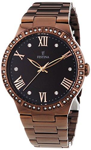 University Sports Press F16801/2 - Reloj de cuarzo para mujer, con correa de acero inoxidable chapado, color marrón
