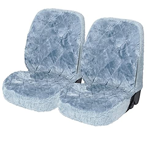 WOLTU AS7334sb-2 Luxury Lambskin Wool Fleece Car Seat Covers Cushions x 2 Sheepskin Car Seat Covers Silver for Decoration and Warm in