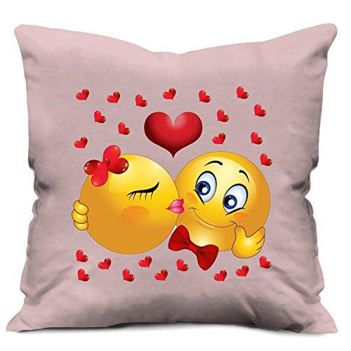 Foto Werfen (D & D Crafts Funny Emoji-Kissing Foto Print Weich Luxus Baumwolle Kissenbezug/Geschenk für Freundin/annivarsary Geschenk (12x 12))