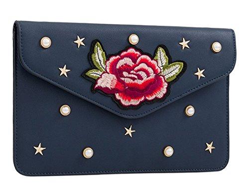 Haute für Diva S NEU mit Nieten besetzt Kunstleder bestickt Blumenmuster Verzierung Damen Geldbörse Clutch Tasche - Rosa, Small Marine