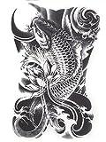 ღ HB-090-Temporary Flash temporaire autocollant de tatouage noir et blanc corps exotique Oriental adhésif papier autocollants Gotik gothique est pour les hommes