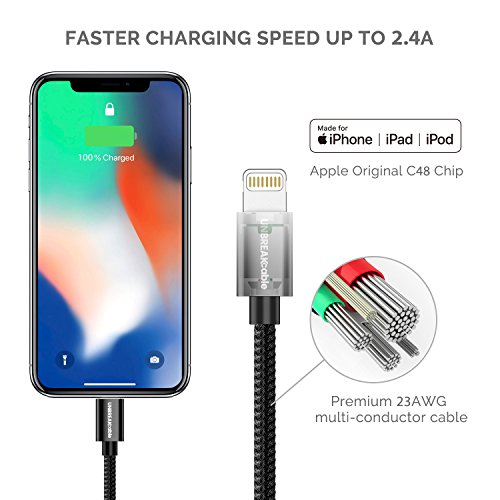 UNBREAKcable Apple iPhone Charger Cable - [Apple MFi Certified] - 6.6ft/2m Double-braided Nylon Lightning Cable Fast Charging Cable for iPhone Xs Max X XR 8 7 6s 6 Plus SE 5s 5c 5, iPad iPod Img 1 Zoom