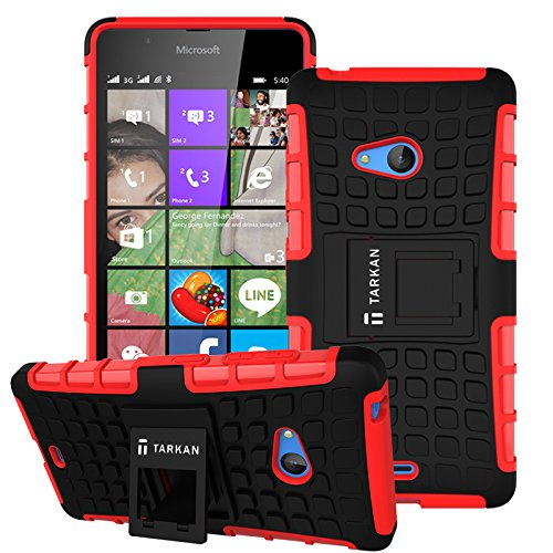 TARKAN Hard Armor Hybrid Rubber Bumper Flip Stand Rugged Back Case Cover For Microsoft Lumia 540 - Red
