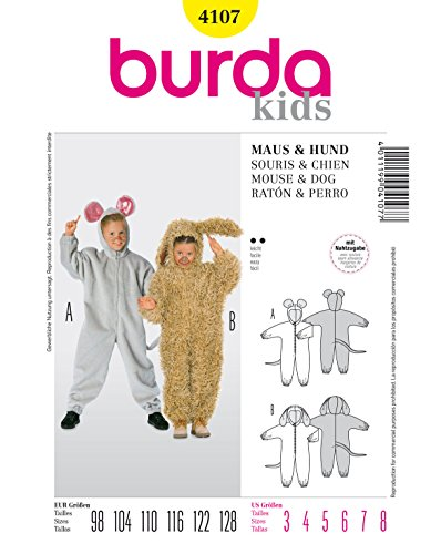 Kinder Kostüm Dackel - Burda 4107 Schnittmuster Overall (kids, Gr. 98-128) - Level 2 leicht