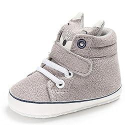 FNKDOR Baby Mädchen Jungen Fuchs Lauflernschuhe rutschfest Canvas Schuhe Stiefel (12-18 Monate, Grau)