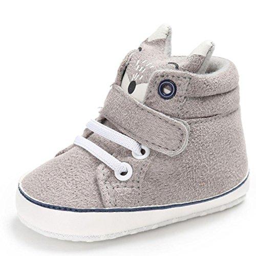 FNKDOR Baby Mädchen Jungen Fuchs Lauflernschuhe Rutschfest Canvas Schuhe Stiefel (0-6 Monate, Grau)