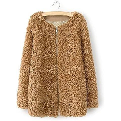 Lana de oveja de lana de invierno más abrigo de lana largo de tamaño de las mujeres , khaki , xl