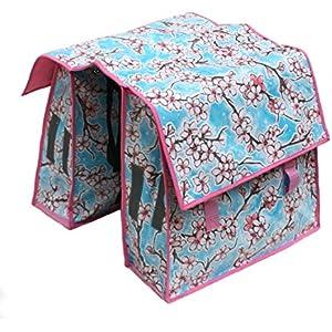Fahrradtasche für Gepäckträger - Satteltasche - Packtasche aus Wachstuch, für Damen, wasserdicht, Modell Hanami rosa
