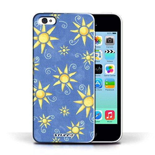 iCHOOSE Print Motif Coque de protection Case / Plastique manchon de telephone Coque pour Apple iPhone 5C / Collection Motif Soleil / Jaune/Blanc Bleu/Jaune
