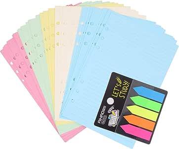 Ricariche di Carta A5 a Fogli Sciolti Compatibili con Filofax A5 Inserti per Pianificatore per Raccoglitori a 6 Anelli 6 Fori 200 Pagine a Righe