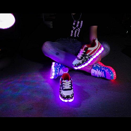 Shinmax Scarpe LED Carica USB 7 Colori Lampeggiante Unisex da Tennis per il Giorno di Natale del Regalo del Partito di Promenade con Certificato CE Scarpe con Luci Stella rossa