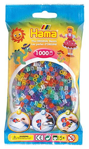Hama 207-54 - Bügelperlen im Beutel, ca. 1000 Stück, glitzer-Mix