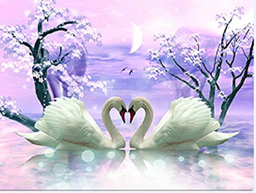 5D DIY Diamond Painting Cross Stitch, Decoration of House Living Room,Swan couple, romantic