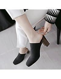 Qingchunhuangtang@@ Tejido Elástico Zapatillas de Tacón Alto de Arrastre y Fresco,39, Negro