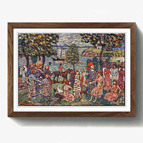 BIG Box Art Maurice Pendergrass Fantasy Druck mit Eichenholz Rahmen, Mehrfarbig, Größe A2, 24,5x 18-inch-p, Holz, walnuss, 24.5 x 18-Inch/A2 - Fantasy Walnuss