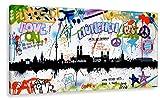 Kunstbruder Wandbild Kunstdruck auf Leinwand/München Tags by Hero Art Skyline (Div. Größen) - Bilder Banksy Leinwandbilder 100x200cm