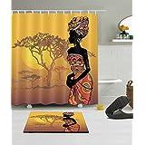 LB 180X180CM 3D impression polyester Tissu Rideau de douche & Antidérapant Tapis de bain ensemble Femme africaine avec coiffure afro Arbre du coucher du soleil Modèle Imperméable anti-moisissure bain Rideau avec 12 crochets en plastique