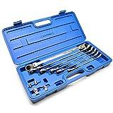 Set di chiavi a cricchetto metriche extra lunghe a doppia estremità flessibile, 8-19 mm, 10 pezzi AT66