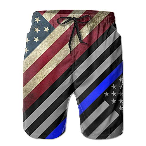 Jocper Retro American Flag Blue Line Men's Water Sports Beach Shorts X-Large