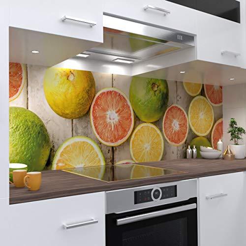 OneWheel   Küchenrückwand Premium 0,4 mm Hart PVC Spritzschutz - für Fliesenspiegel - Selbstklebende stabile Kunststofffolie   (Zitrone, 60 cm L x 51 cm H)